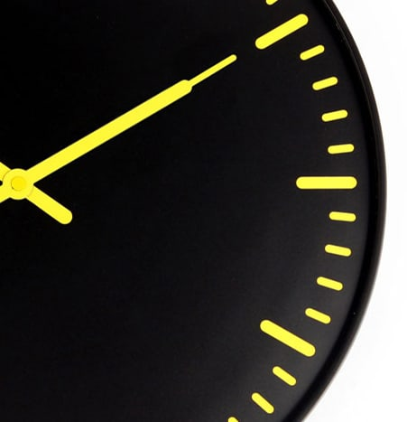 Kikkerland Swiss Station Ultra Flat Wall Clock Yellow and Black Color Combination