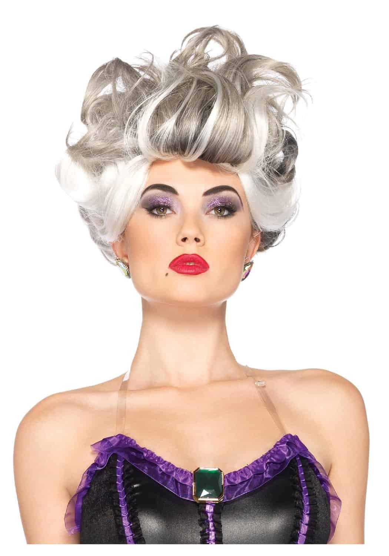 Leg Avenue Ursula Velvet Dress with Tentacle Skirt White Hair Wig