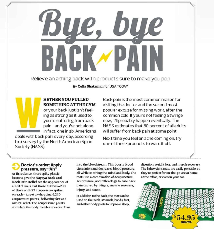 Nayoya Acupressure Mat Bye Bye Back Pain Article