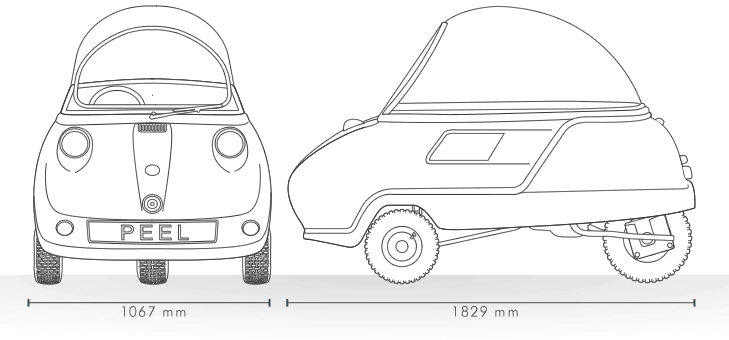 Peel Trident Micro Car Drawing and Specifications