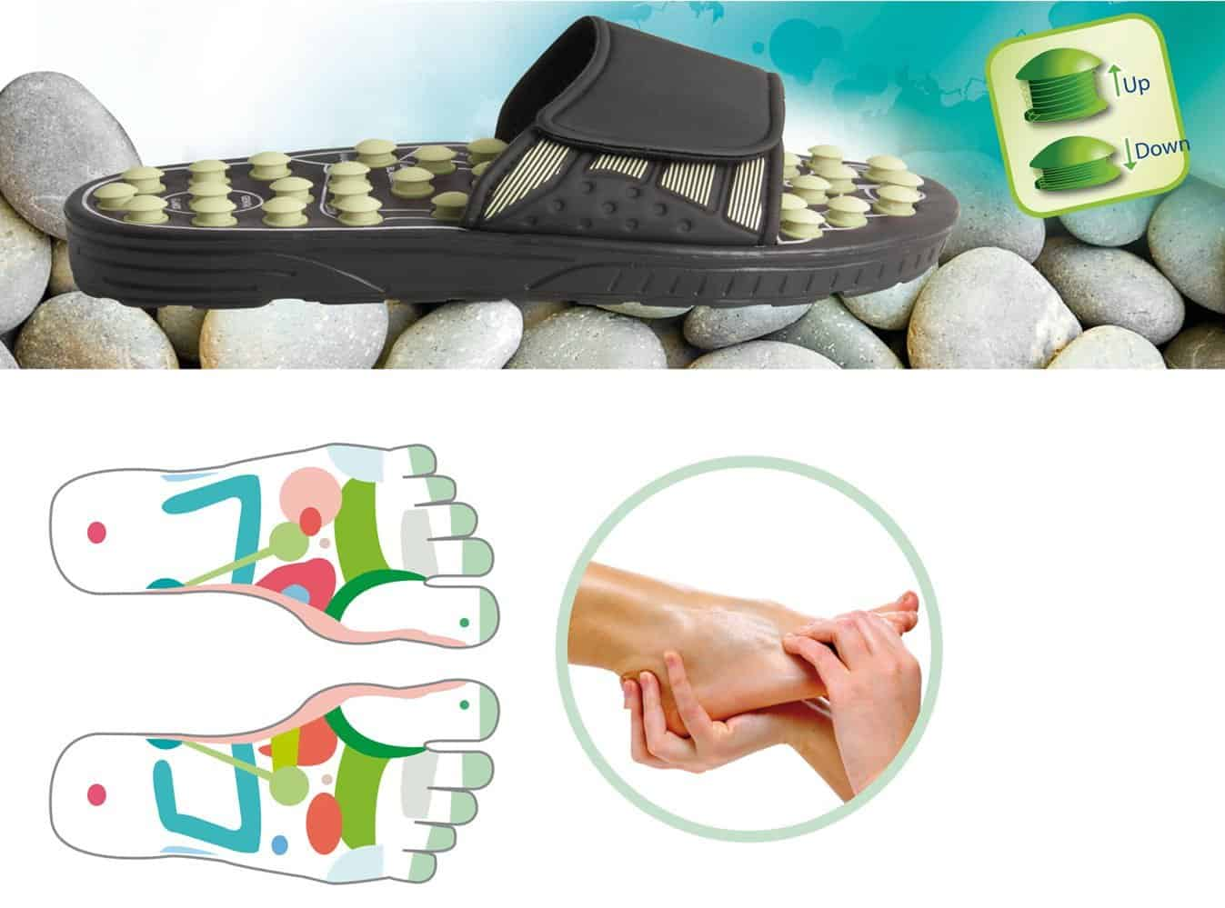 Reflexology Sandals Black & Pearl Acu Pressure Therapy