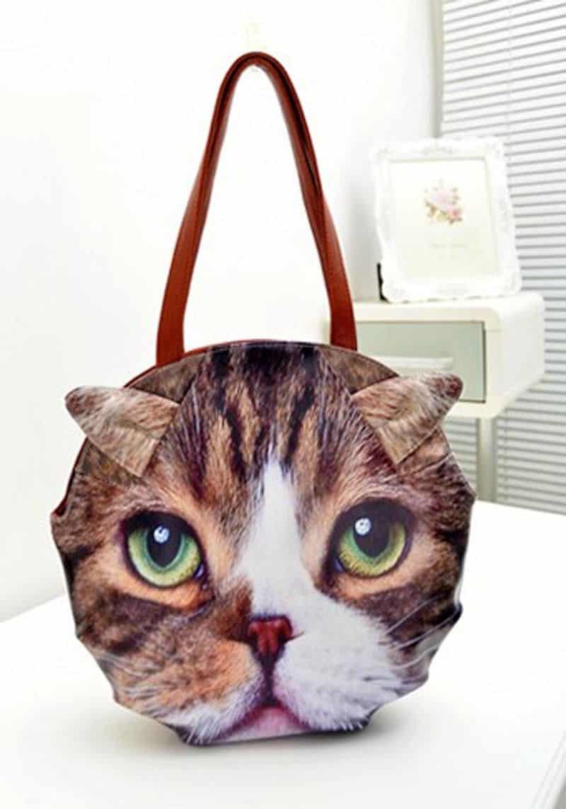 3D Giant Animal Face Tote Bag Cute Cat Lover Gift Idea