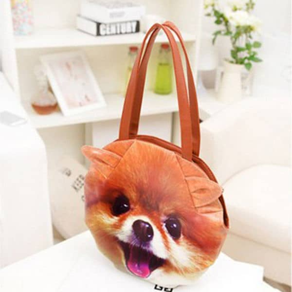 3D Giant Animal Face Tote Bag Cute Pomeranian Dog