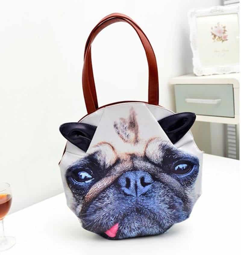 3D Giant Animal Face Tote Bag Cute Pug Funny Gift Idea to Buy