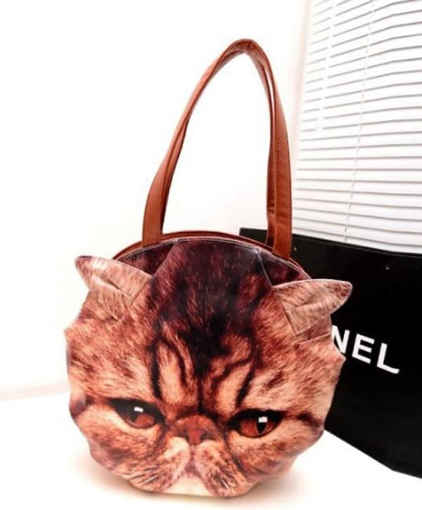 3D Giant Animal Face Tote Bag Grumpy Cat Cool Gift