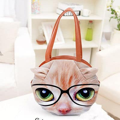 3D Giant Animal Face Tote Bag Nerdy Cat Buy Her a Cute Funny Bag