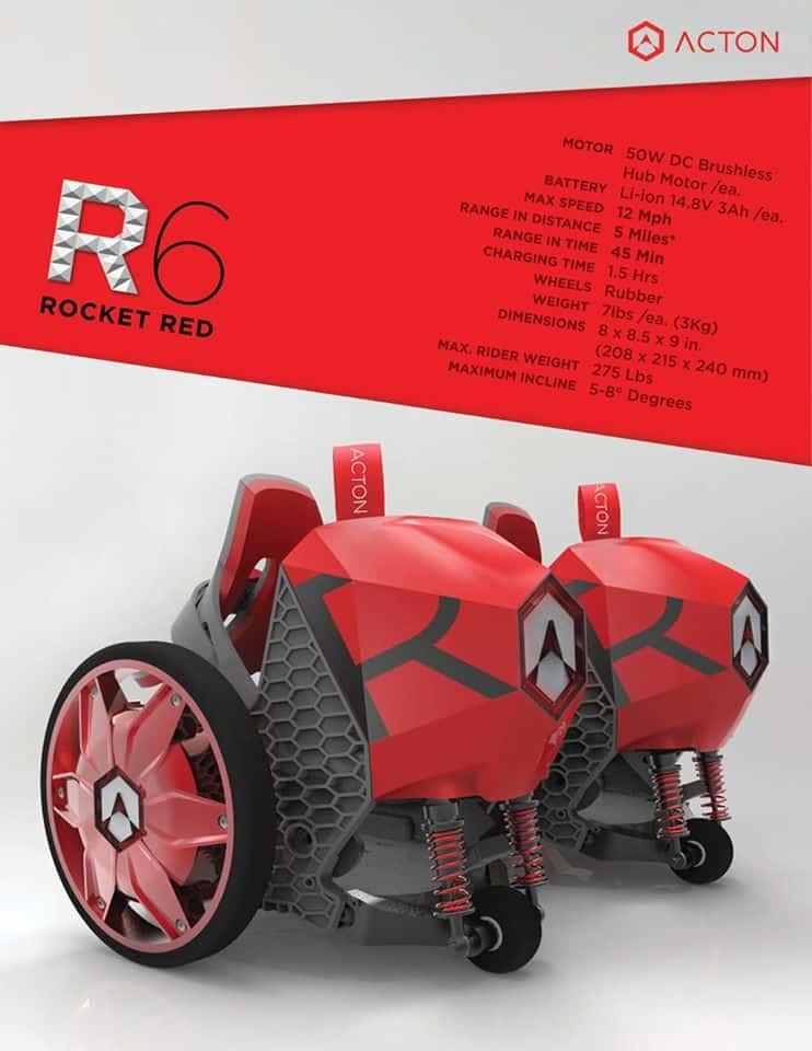 Acton Rocketskates Electric Skates R6 Red Unique Gift Idea