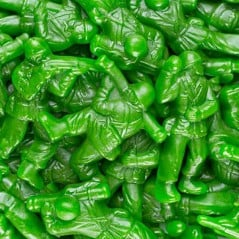 Tough looking but gentle flavored gummy soldiers.
