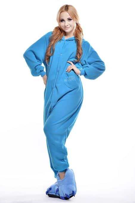 Cookie Monster Unisex Adult Pajama Cute Blue Onesie