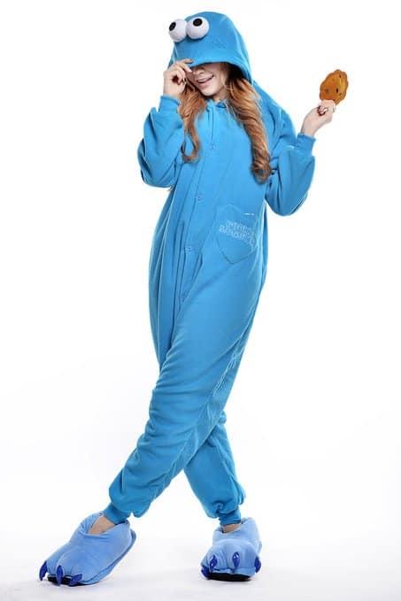 Cookie Monster Unisex Adult Pajama Sesame Street Cute Sleep Wear to Buy