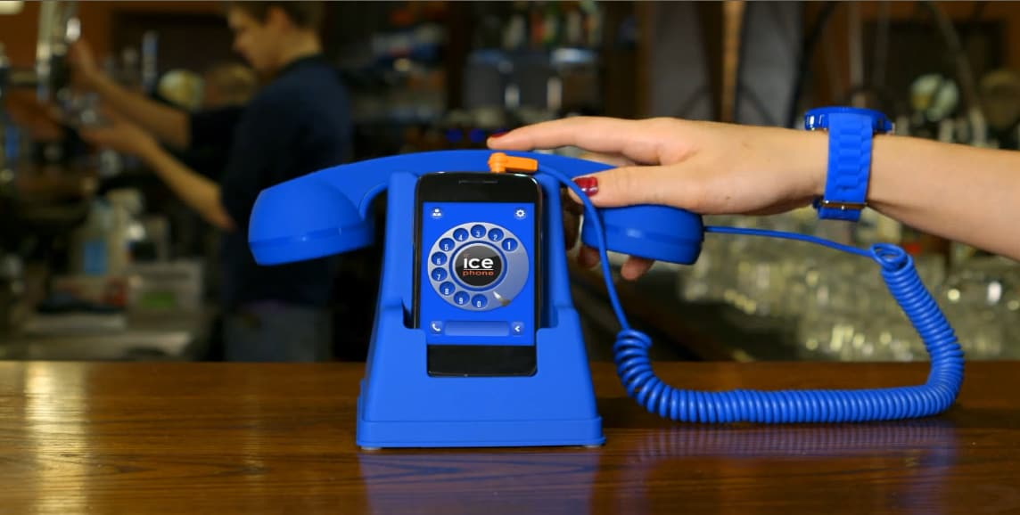 Ice Phone Retro Phone Dock and Handset Blue Gift Idea for Kids