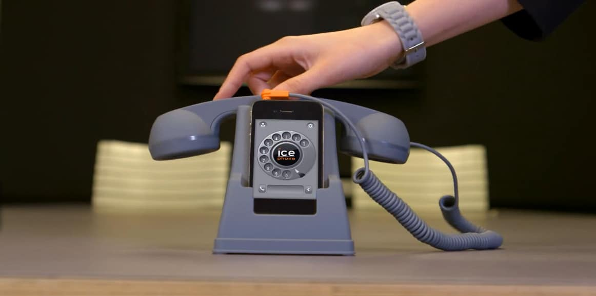Ice Phone Retro Phone Dock and Handset Gray Toy for your iPhone