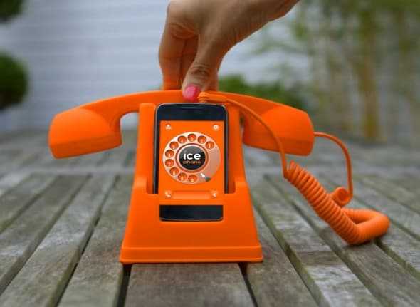 Ice Phone Retro Phone Dock and Handset Orange Cool iPhone Accessory to Buy