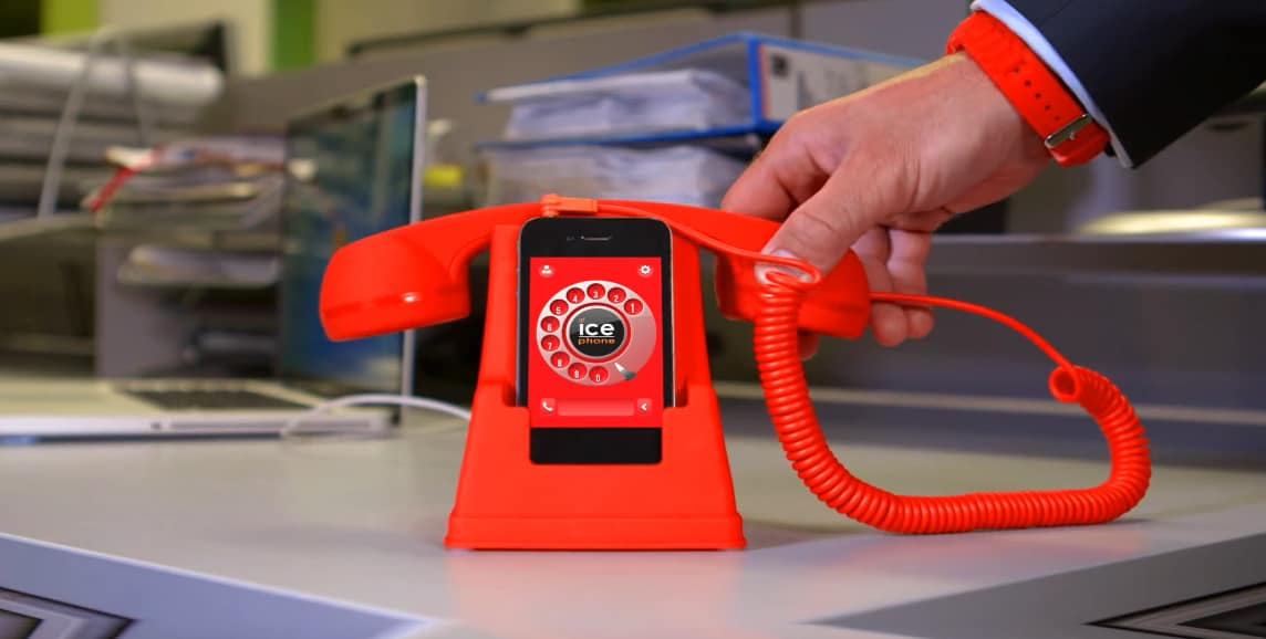Ice Phone Retro Phone Dock and Handset Red Buy a Cool Gift for Him