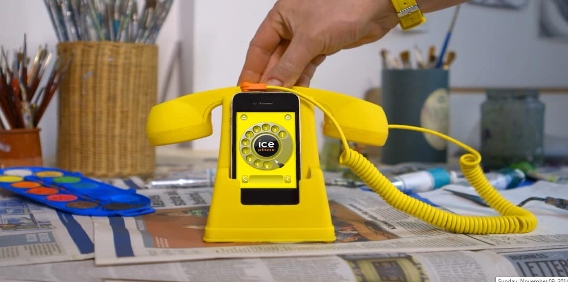 Ice Phone Retro Phone Dock and Handset Yellow Cool iPhone Accessory