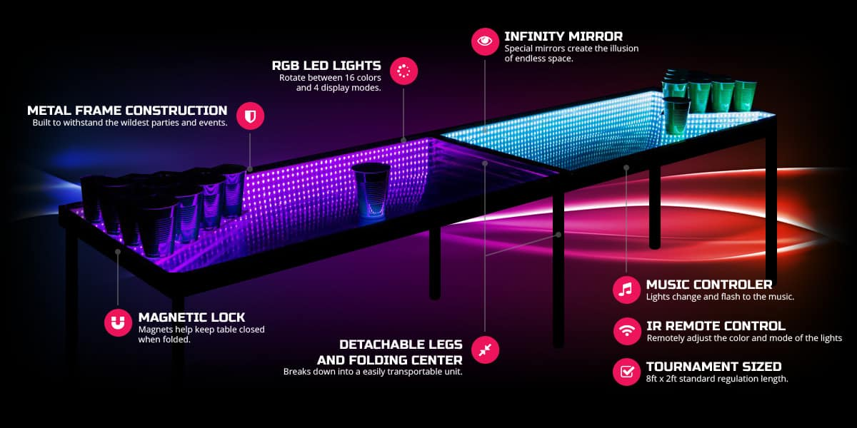Infinity Glow Party Beer Pong Table Cool Stuff to Buy