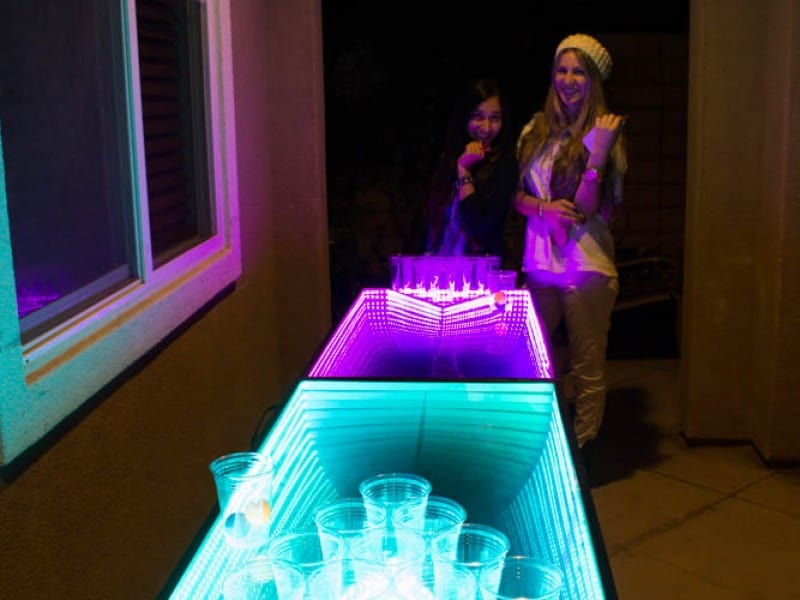 Infinity Glow Party Beer Pong Table Neon Teal and Purple