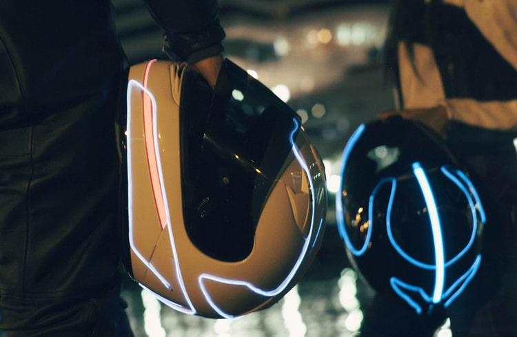 LightMode Electroluminescent Motorcycle Helmets Glowing Lights for More Visibility