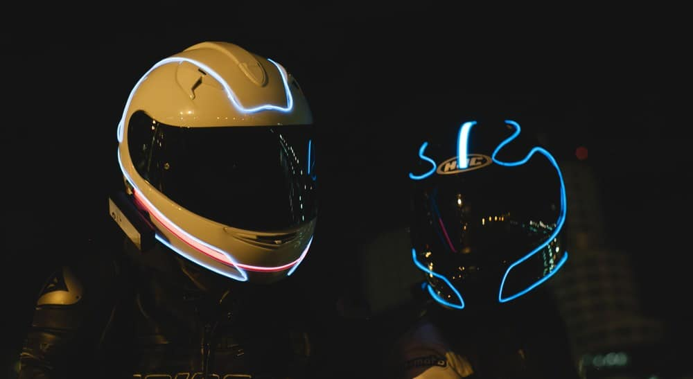 LightMode Electroluminescent Motorcycle Helmets Tron Inspired Design