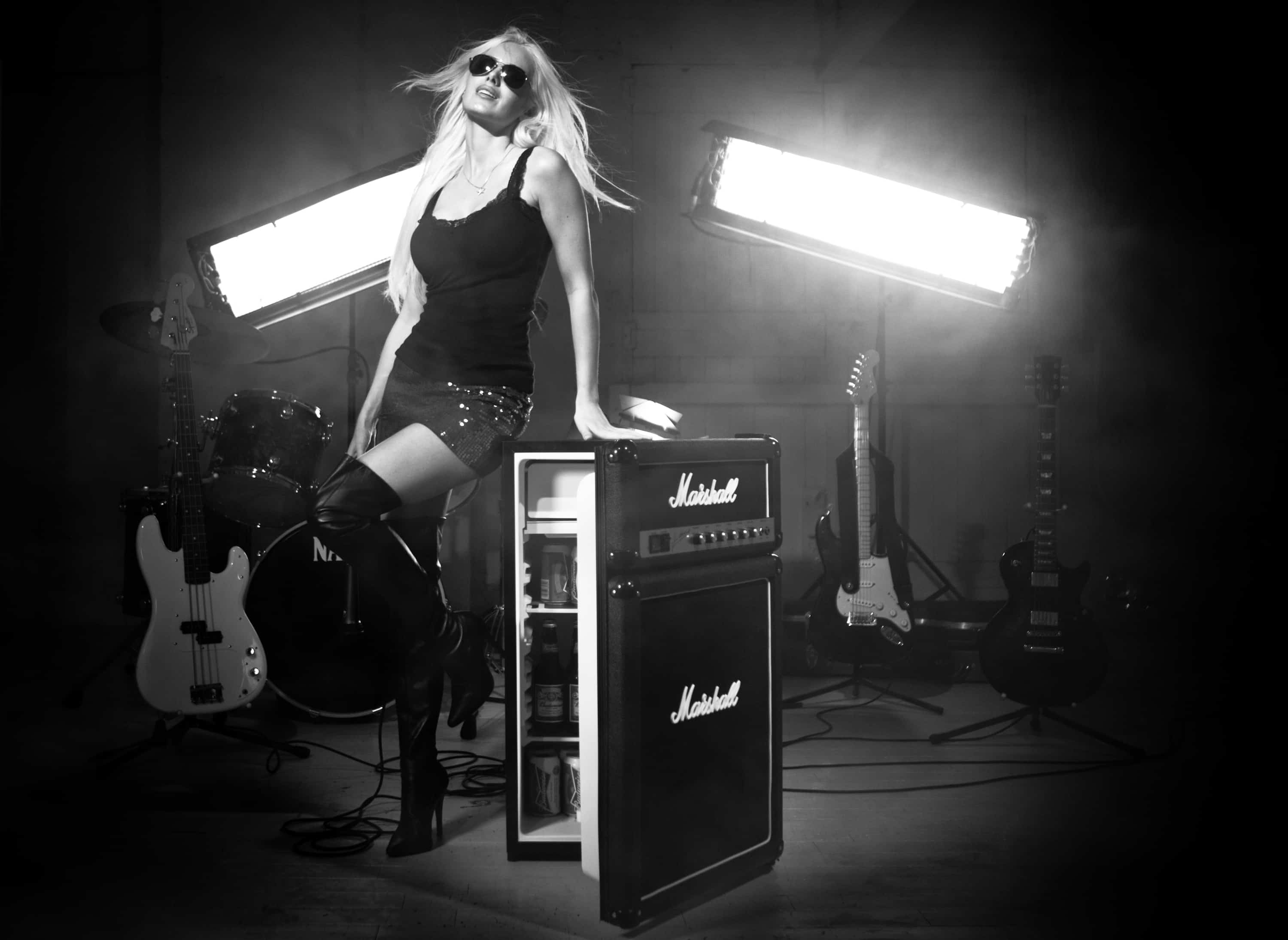 Marshall Fridge by Marshall Amplification With Rocker Chick Model