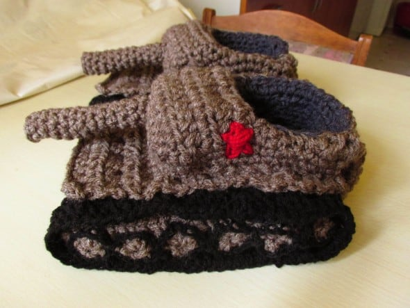 Panzer Tank Crochet Slippers Cool Gift for Dad