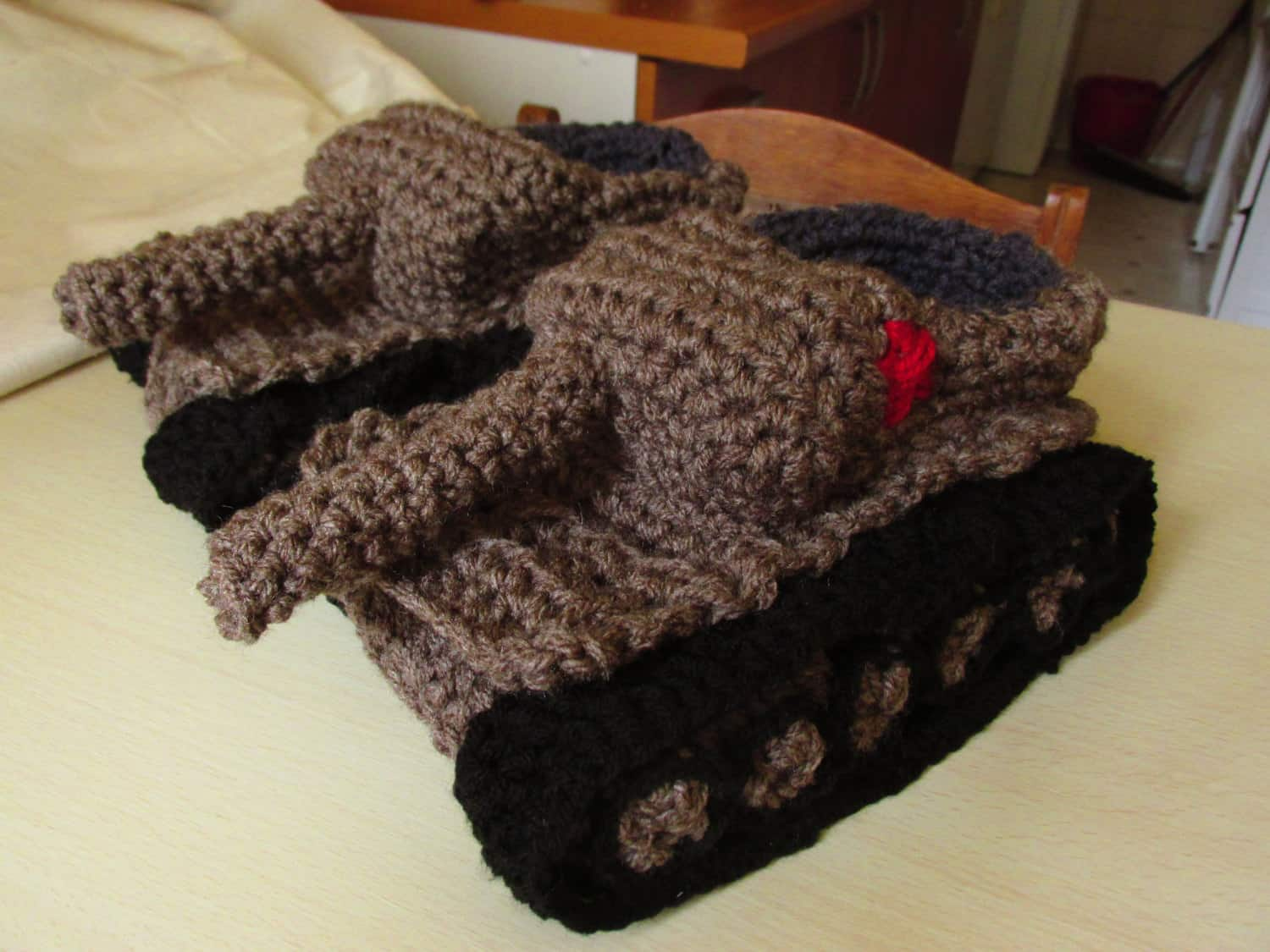 Panzer Tank Crochet Slippers Gray Comfy Feet