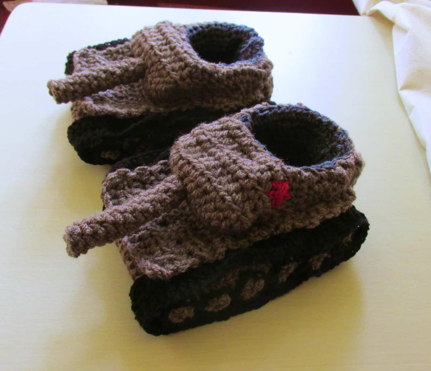 Panzer Tank Crochet Slippers Gray and Comfy