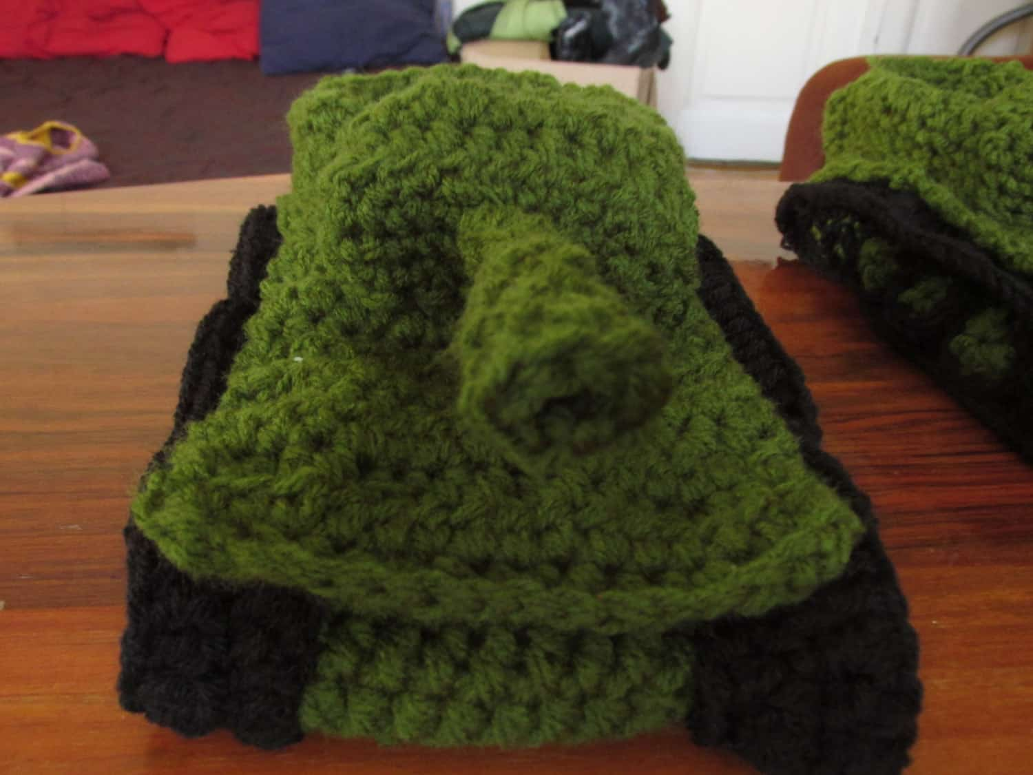 Panzer Tank Crochet Slippers Green Nozzle