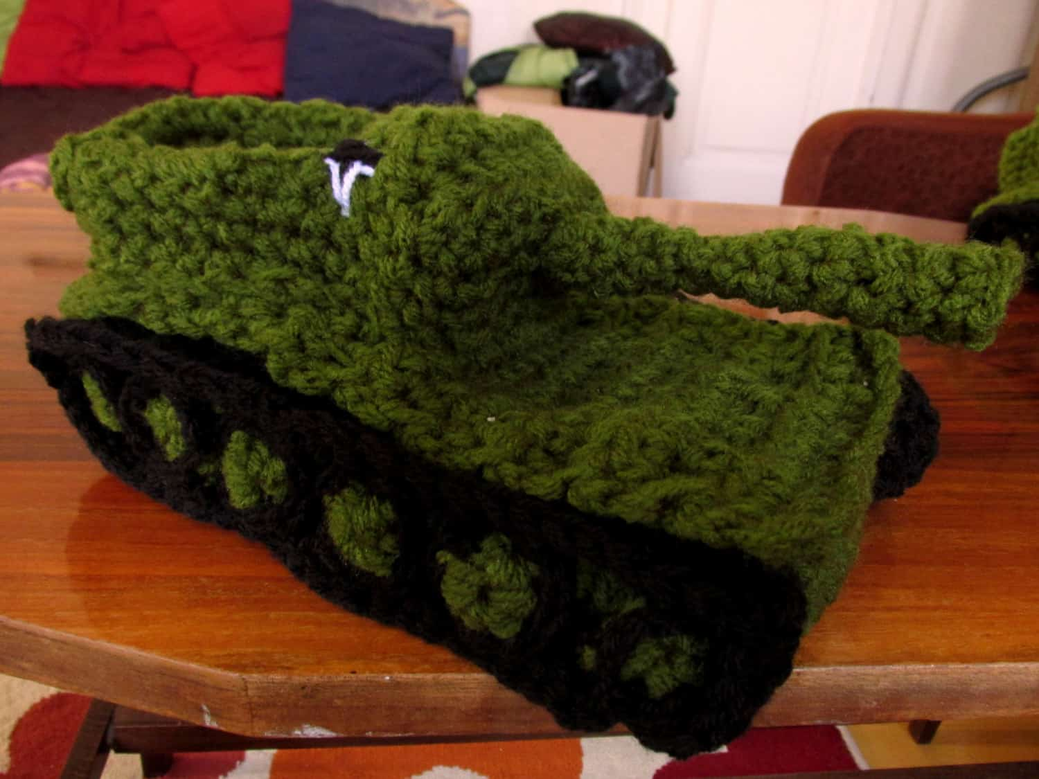 Panzer Tank Crochet Slippers Green Unique Gift Idea for Him