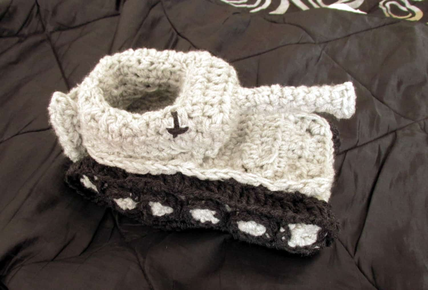 Panzer Tank Crochet Slippers White Customizable  Gift Idea