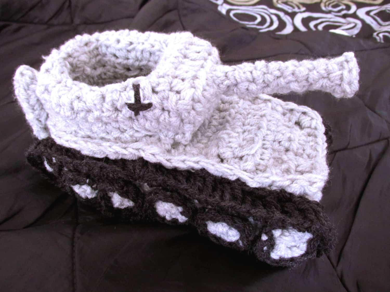 Panzer Tank Crochet Slippers White Handmade