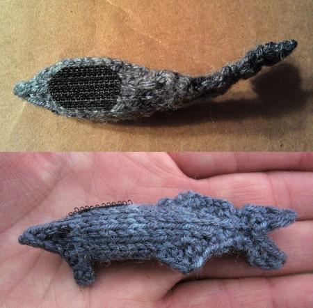 Shark Week Socks by Tsarina of Tsocks Cross Stitch Remora With Velcro