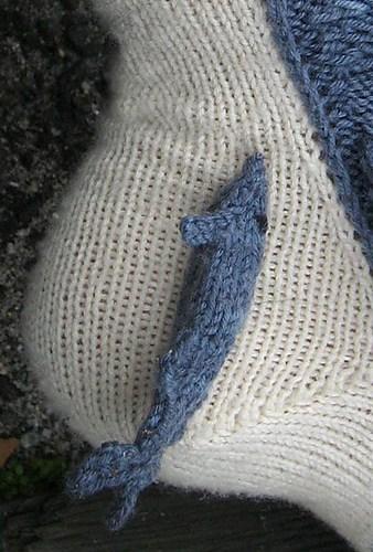 Shark Week Socks by Tsarina of Tsocks Cross Stitcr Remora