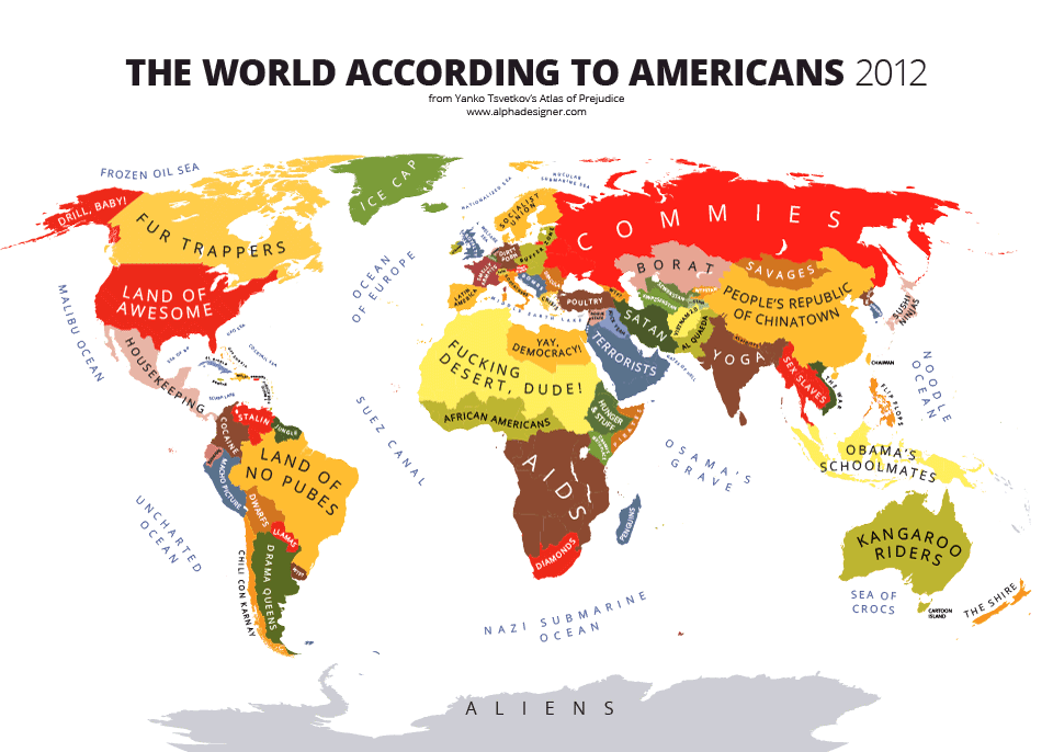 The World According to Americans Poster Cool College Room Decor to Buy