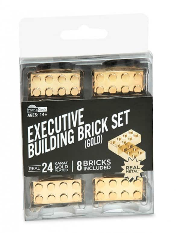 Thinkgeek Executive Building Brick Set Gold Buy Unique Gift Idea