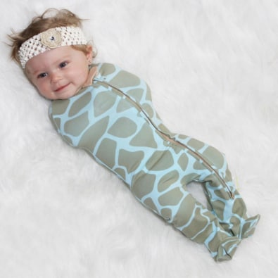 Woombie Convertible Swaddle Blanket Blue Giraffe Pattern
