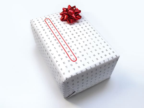 Wordless Wrap Word Search Gift Wrapper Creative Idea for Christmas Present