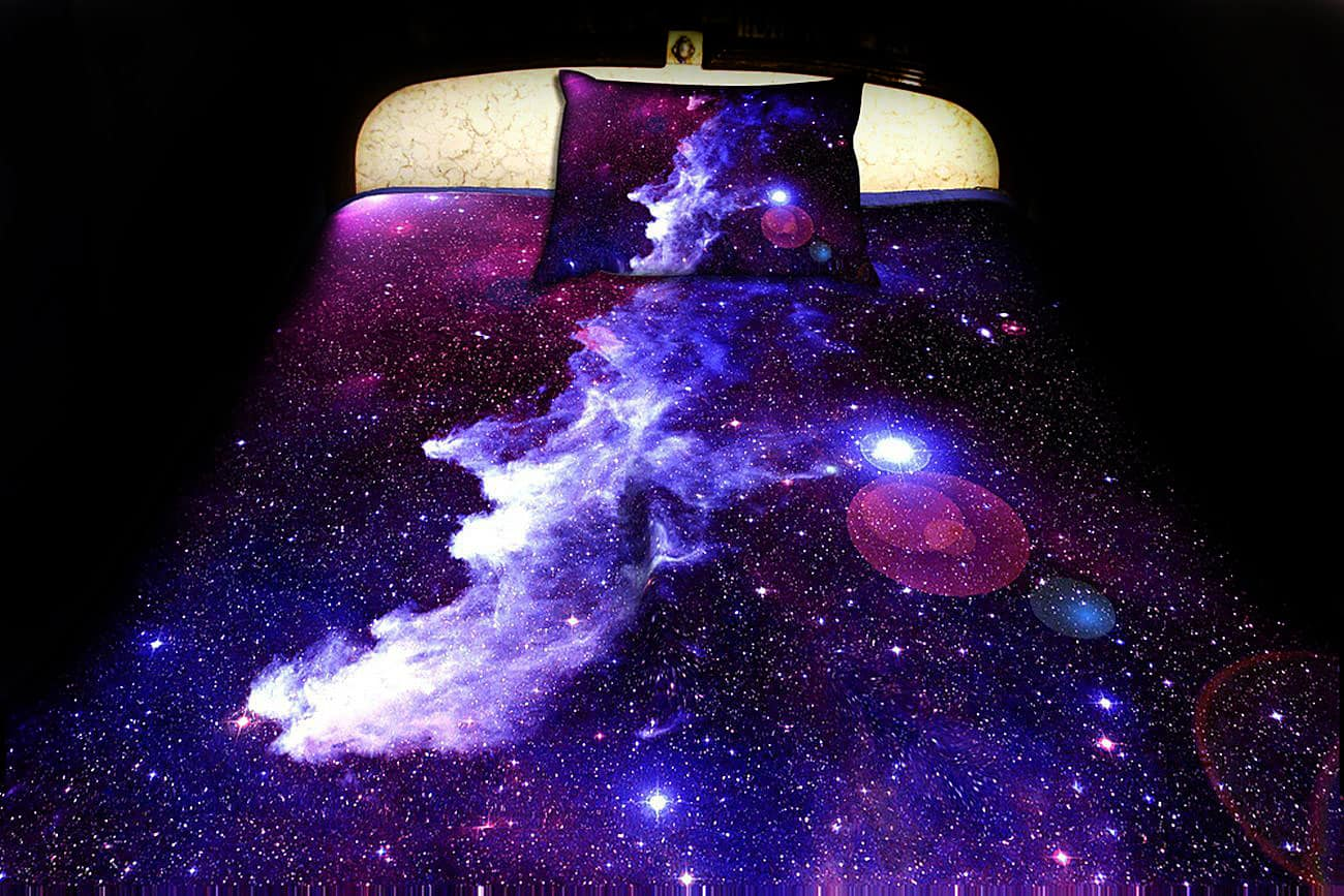 Anlye Purple Nebula Bed Sheets & Pillow Cases Cool House Warming Gift to Buy