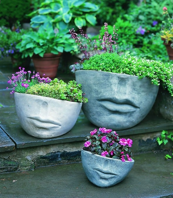 Campania International Faccia Cast Stone Planter Cool Garden Stuff to Buy