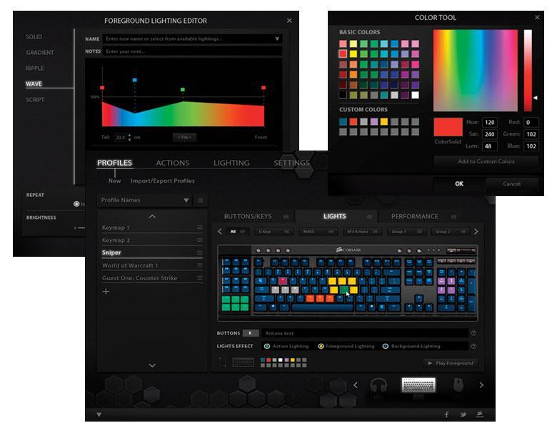 Corsair Vengeance K95 RGB Gaming Keyboard Customization Program