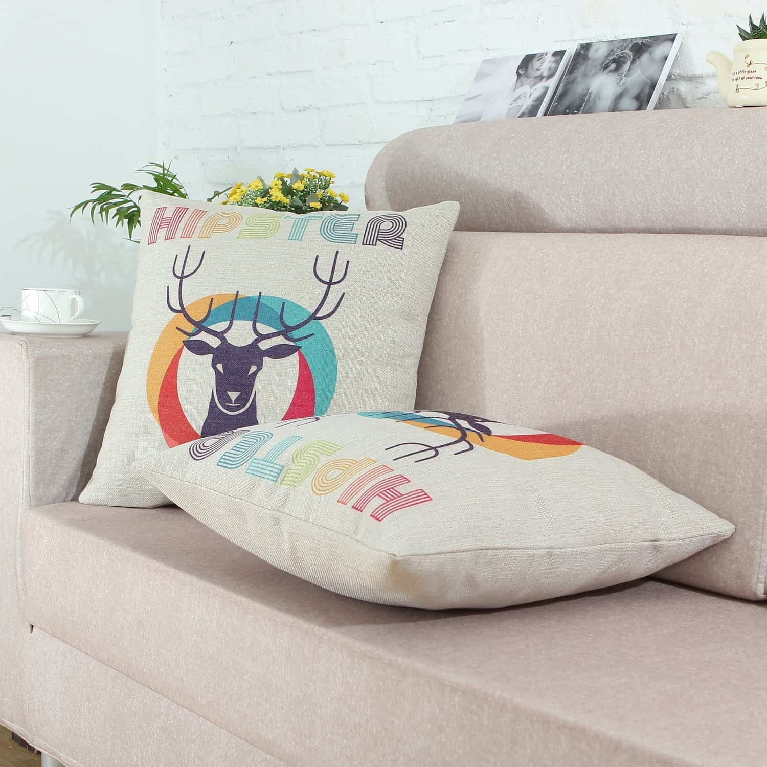 Euphoria Hipster Retro Style Deer Head Pillow Covers Hip Living