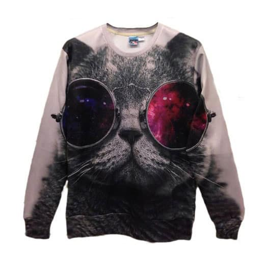 Pink Queen Sunglasses Cat Sweater Cute Novelty Item