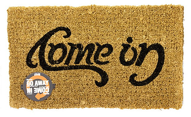 SucK UK Come In Go Away Ambigram Door Mat Clever Product