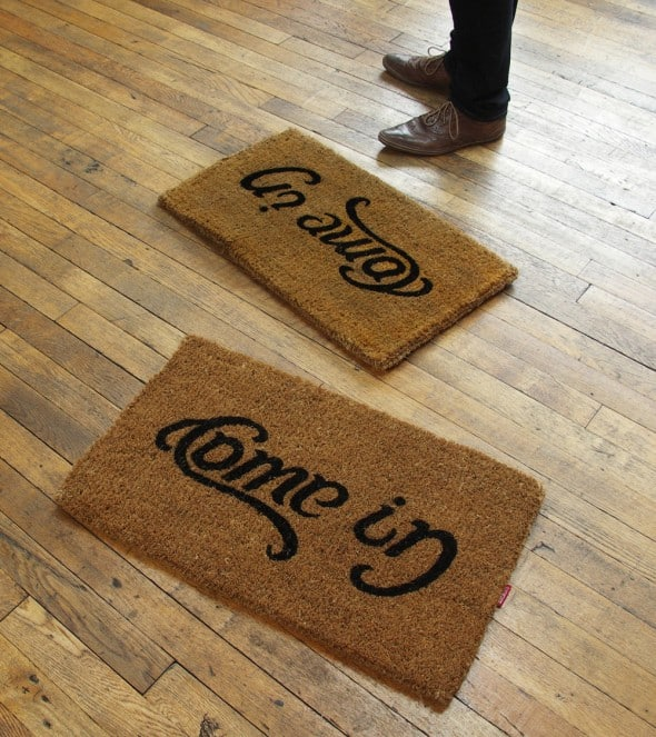 SucK UK Come In Go Away Ambigram Door Mat Cool Stuff to Buy House Warming Gift Idea