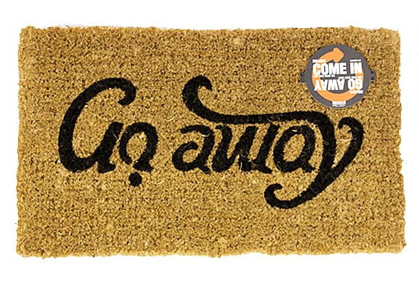 SucK UK Come In Go Away Ambigram Door Mat Funny Product Idea