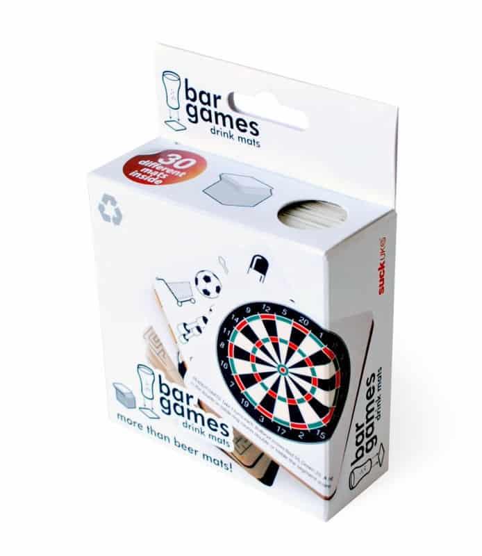 Suck UK Bar Games Beer Mats White Box Packaging