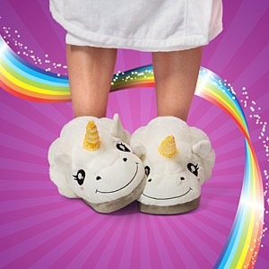 Thinkgeek Plush Unicorn Slippers for Grown Ups Gift Idea for Girlfriend