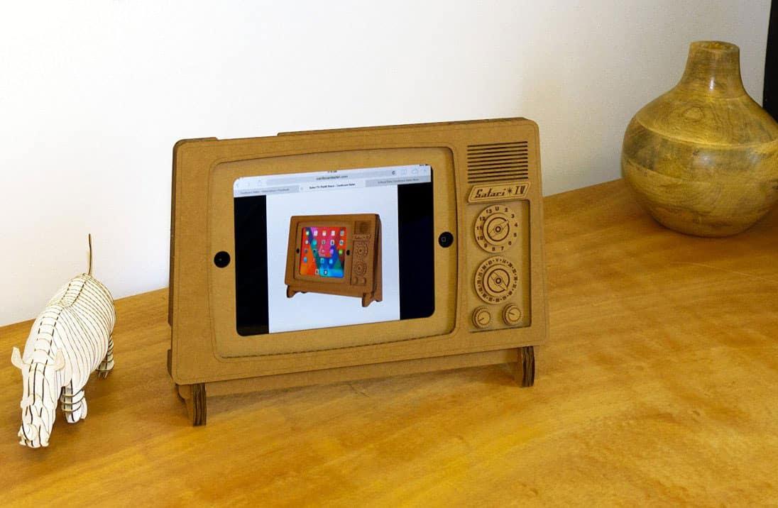 Cardboard Safari TV Cardboard iPad Stand  Fancy Novelty Item