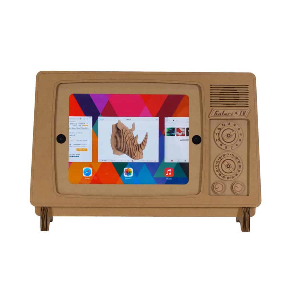 Cardboard Safari TV Cardboard iPad Stand  Retro Looking Accessory