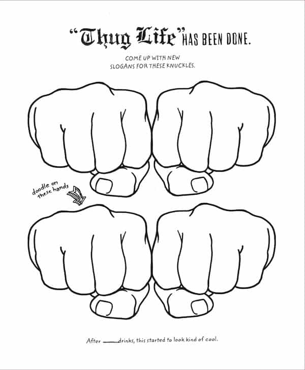 Color Me Drunk A Drinking and Drawing Activity Book Thug Life Page